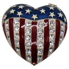 GORGEOUS Vintage American Flag Rhinestone Heart Trinket Ring Box
