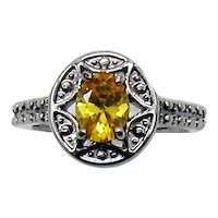 Gorgeous Costume Jewelry Yellow Faux Diamond Vintage Art Deco Flare Ring FREE SHIPPING