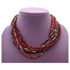 BOOK Avon 'Tonal Burgundy' Vintage Multi Strand Ruby Red Garnet Glass Beaded Necklace  FREE SHIPPING