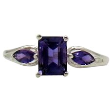 Gorgeous Signed STS 925 Sterling Silver Ring Emerald Cut Amethyst FREE SHIPPING