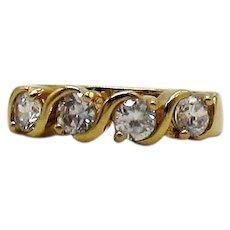 Beautiful Vintage CZ Costume Jewelry Four Stone Ring Size 8 Unworn