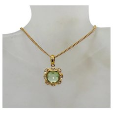 Signed Nolan Miller Vintage Green Faceted Pendant Necklace FREE SHIPPING