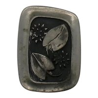 Signed R Tennesmed Swedish Pewter Abstract Naturalistic Brooch FREE SHIPPING