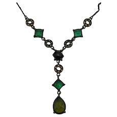Vintage Victorian Revival Lavaliere Glass Rhinestone Antiqued Brass Necklace FREE SHIPPING