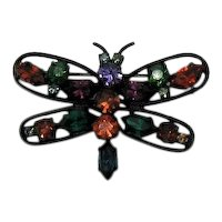 Signed Made in Austria Vintage Figural Butterfly Brooch Jewel Tone Rhinestone Japanned FREE SHIPPING