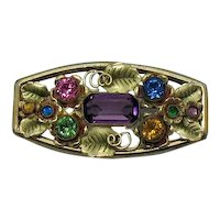 GORGEOUS Vintage 1930s Brass Rhinestone Amethyst Paste Floral Brooch FREE SHIPPING