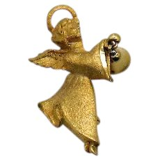 Christmas Figural Guardian Angel Charm Bell Signed GG USA Vintage Brooch