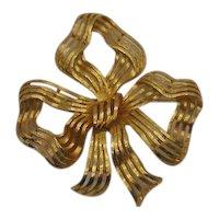 Gorgeous Massive Signed Monet Vintage Golden Bow Brooch