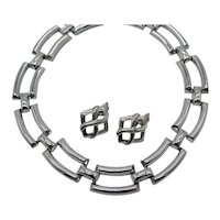 Fabulous Signed Trifari TM Vintage Silver Bold Modernist Link Necklace Earrings Set FREE SHIPPING