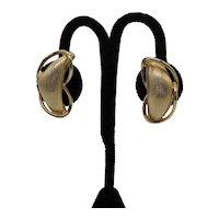 Bold Signed Coro Vintage Mid Century Modern Golden Clip Earrings