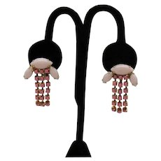 Beautiful Screw Back Earrings Vintage Pink Milk Glass