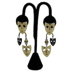 Fun Vintage Theatrical Masked Dangle Enameled Metal Cut Out Pierced Earrings