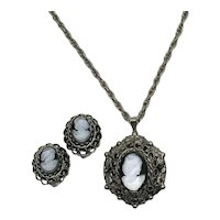 Bold Vintage Translucent Black Glass Cameo Necklace Clip Earrings Set FREE SHIPPING