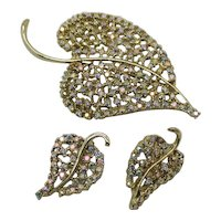 Bold Signed Dodds Vintage Sparkling AB Rhinestone Brooch Clip Earrings Set FREE SHIPPING