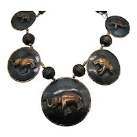 Bold Vintage Copper Brass Wooden Beaded Figural Tribal Elephant Necklace 94 Grams! FREE SHIPPING