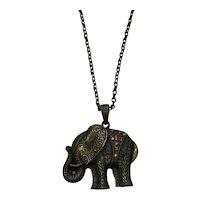 Signed Cookie Lee Vintage Brass Figural Elephant Rhinestone Necklace