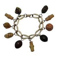 Rare Signed Coro Vintage Art Glass Bamboo Charm Bracelet FREE SHIPPING