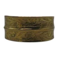 Fabulous Solid Brass Etched Vintage Wide Cuff Bracelet FREE SHIPPING
