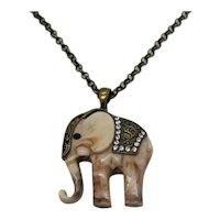 Fabulous Vintage Swirl Marble Resin Figural Elephant Rhinestone Necklace FREE SHIPPING