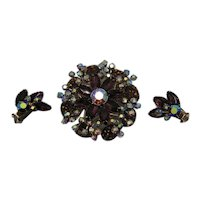 High End Volcanic Rock Vintage AB Rhinestone Layer Brooch Earrings Set FREE SHIPPING