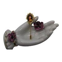 Rare Signed Art Arthur Pepper Vintage Stick Pin Porcelain Transfer Wear Victorian Woman FREE SHIPPING