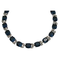 Amazing Vintage Bold Sapphire Blue Oval Glass Rhinestone Link Necklace Choker FREE SHIPPING