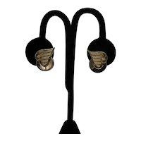 Signed Coro Vintage 1950s Modern Golden Lever Back Earrings