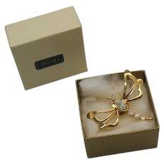 BOOK Signed Avon 1993 Nature's Garden Tac Pin Vintage Clutch Pin Figural Dragon Fly UNWORN Original Box