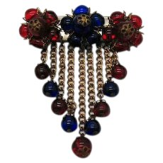 Unsigned Early Miriam Haskell Vintage Glass Beaded Brass Brooch FREE SHIPPING