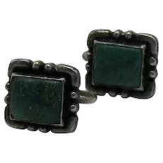 Gorgeous Vintage Signed Sterling Silver 925 Green Turquoise Screw Back Earrings FREE SHIPPING