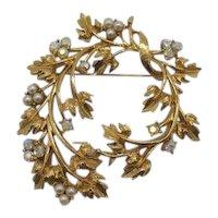 Sparkling Rhinestone Faux Pearl Bird's Nest Vintage Golden Leaf Brooch