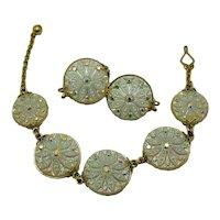 Rare Amazing Unsigned Castlecraft Opalescent Art Glass Rhinestone Bracelet Clip Earrings Set. FREE SHIPPING