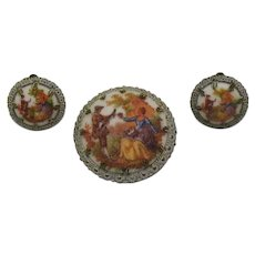 Gorgeous Signed West Germany Vintage Sugar Coated Courting Couple Brooch Clip Earrings Set FREE SHIPPING