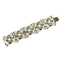 Wide Bold Signed Coro Golden Vintage Bracelet FREE SHIPPING