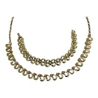 Golden Vintage Unsigned Coro Necklace Bracelet Set Faux Pearl Accents FREE SHIPPING