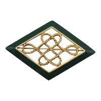 Signed Monet Vintage Green Enameled Golden Rope Brooch