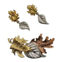 Signed Avon Vintage Mixed Metals Leaf Brooch Dangle Clip Earrings
