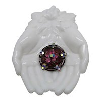 Spectacular Huge Oval Navette Ruby Red Rhinestone Vintage Four Tier Brooch FREE SHIPPING