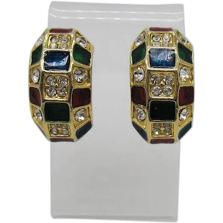 Bold Vintage 1980s Stain Glass Pava Rhinestone Half Hoop Clip Earrings FREE SHIPPING