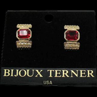 Signed Bijoux Terner Vintage Ruby Glass Faux Diamond Clip Earrings Original Card Unworn FREE SHIPPING