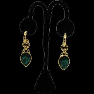 BOLD Signed Bijoux Terner USA Vintage Teardrop Faux Emerald Green Rhinestones Diamond Pierced Earrings Original Card Unworn FREE SHIPPING