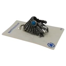 Signed Bell Trading Company Vintage Carded Feather Chief Headdress Charm Sterling Silver Turquoise Hand Tag Lake Geneva UNWORN