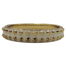 Fun Vintage White Enameled Golden Stud Hinged Bangle Bracelet Unworn