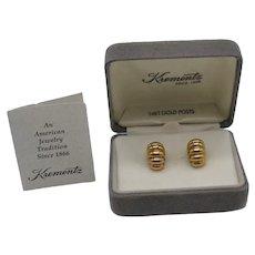 Gorgeous Signed Krementz Vintage Pierced Earrings 14K Gold Post Original Paperwork Box Unworn FREE SHIPPING