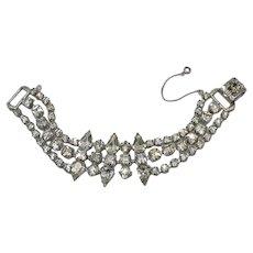 Bold Princess Pear Shaped Rhinestone Mid Century Bracelet FREE SHIPPING
