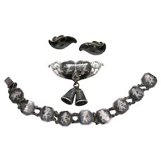 Amazing Signed Siam Sterling Silver Mekkala Goddess of Lightening Vintage Niello Ware Bracelet Heart Bell Brooch Earrings Set FREE SHIPPING