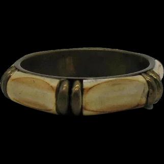 Signed Made in India Vintage 1970s Brass Bone Bangle Bracelet