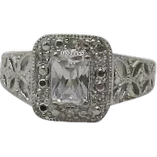 Gorgeous Vintage Art Deco Inspired Emerald Cut Cubic Zirconia 925 Sterling Silver Ring Signed D FREE SHIPPING