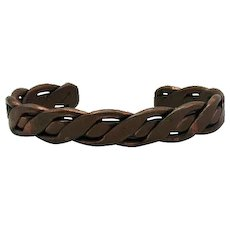 Unisex Signed Maisel's Indian Trading Post Copper Woven Very Weighty Cuff Bracelet