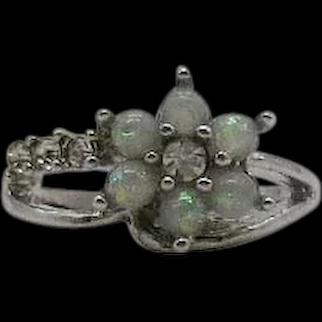 Beautiful Vintage Sterling Silver 925 Faux Opal Diamond Flower Ring